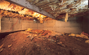 Crawl Space Moisture Barrier before in Boston