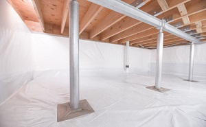 Crawl space structural support jacks installed in Tewksbury