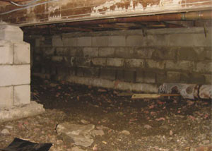 Rotting, decaying crawl space wood damaged over time in Lexington