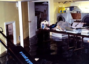 A laundry room flood in Methuen, with several feet of water flooded in.