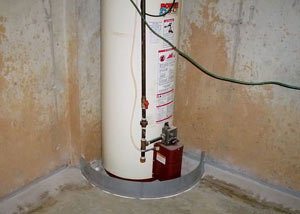 A water heater in Salem that's been protected by the FloodRing® and a perimeter drain system.