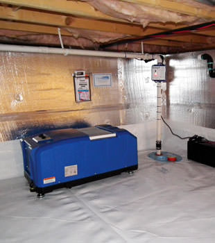 insulated crawl space with our energy efficient dehumidifier installed ... & Crawl Space Dehumidification System in Boston Lowell Cambridge ...