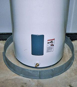 An old water heater in Natick, MA with flood protection installed