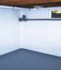 Plastic basement wall panels installed in a Malden, Massachusetts home