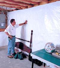 Plastic 20-mil vapor barrier for dirt basements, Malden, Massachusetts installation