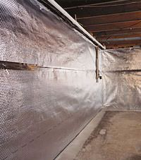 Radiant heat barrier and vapor barrier for finished basement walls in Malden, Massachusetts